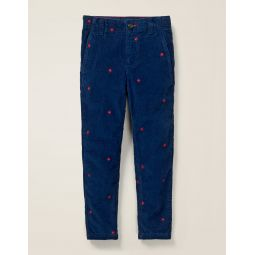Relaxed Cord Chino Pants - College Blue Embroidered Star