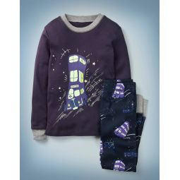 Lumos Glow-In-The-Dark Pajamas - Navy Knight Bus