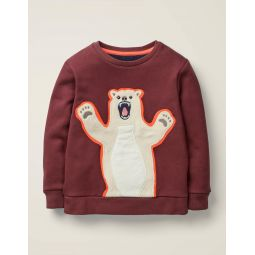 Furry Friends Sweatshirt - Baked Aubergine Purple Bear