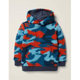 Textured Hoodie - Orange Red Camo