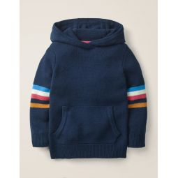 Knitted Hoodie - College Blue/Rainbow