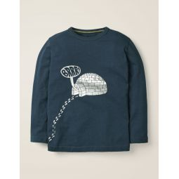 Festive Printed T-Shirt - Stormy Blue Igloo