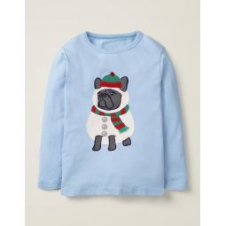 Festive Dress-Up T-Shirt - Provence Blue Dog