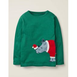 Festive Dress-Up T-Shirt - Hike Green Rhino