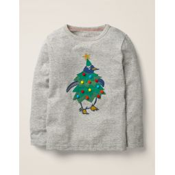 Festive Dress-Up T-Shirt - Grey Marl Penguin