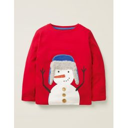 Fluffy Festive T-Shirt - Poppadew Red Snowman