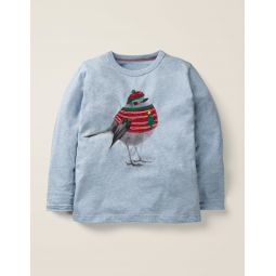 Festive Photographic T-Shirt - Light Blue Marl Robin