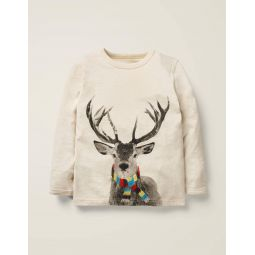 Festive Photographic T-Shirt - Oatmeal Marl Deer