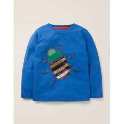 Sequin Bug T-Shirt - Elizabethan Blue Bug
