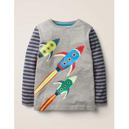 Glow-In-The-Dark Space T-Shirt - Mid Grey Marl Rockets
