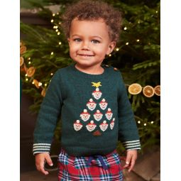Fun Holiday Sweater - Linden Green Santa Tree