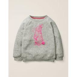 Printed Pet Pals Sweatshirt - Grey Marl Bunny