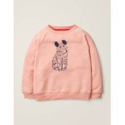 Printed Pet Pals Sweatshirt - Provence Dusty Pink Marl Cat