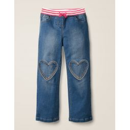 Heart Patch Jeans - Mid Vintage