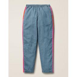 Woven Side Stripe Pants - Chambray