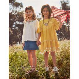 Drop-Waist Broderie Hem Dress - Mellow Yellow/Ecru