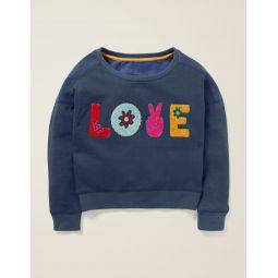 Slogan Sweatshirt - College Blue Love