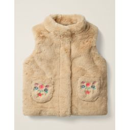 Cosy Embroidered Vest - Natural