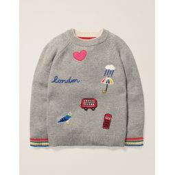 Embroidered Badge Sweater - Grey Marl London