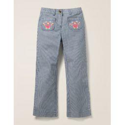 Embroidered Pocket Jeans - Indigo Blue Ticking Stripe