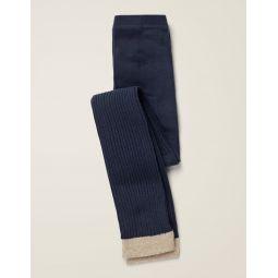 Ribbed Footless Tights - Navy Blue
