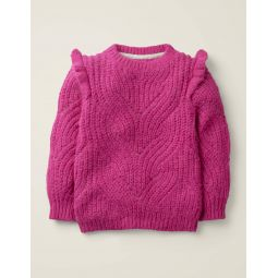 Cable Frill Sweater - Pink Yarrow