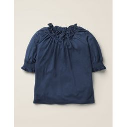 Gathered Detail Top - College Navy