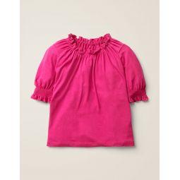 Gathered Detail Top - Pink Yarrow
