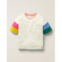 Colourblock Sleeve T-Shirt - Ivory