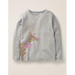 Festive Sequin T-Shirt - Grey Marl Reindeer