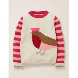 Festive Friends Sweater - Ecru Marl Robin