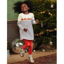 Festive Applique Jersey Tunic - Ivory/College Blue Robins