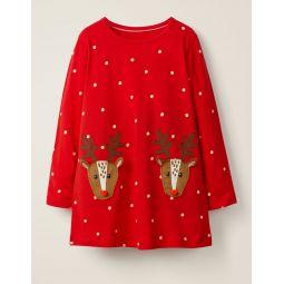 Festive Applique Jersey Tunic - Polish Red/Ecru Reindeers