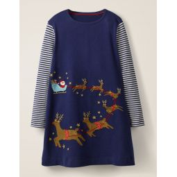 Festive Big Applique Dress - Prussian Blue Sleigh Scene