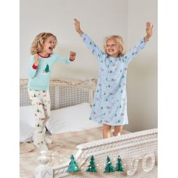 Printed Nightgown - Provence Blue Penguins