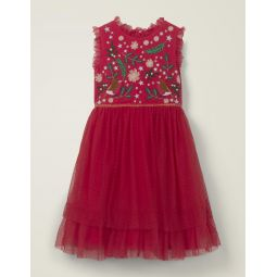 Festive Tulle Party Dress - Rockabilly Red Robins