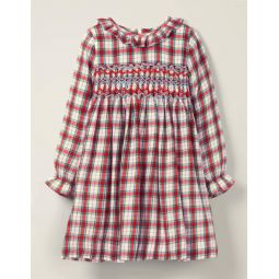 Cosy Smocked Check Dress - Ivory/Bright Pink Check