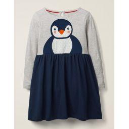 Festive Big Applique Dress - College Blue Penguin