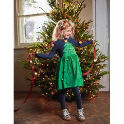 Festive Big Applique Dress - Highland Green Christmas Tree