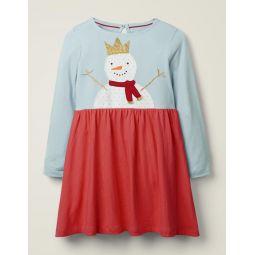 Festive Big Applique Dress - Cloudburst Blue Snowman
