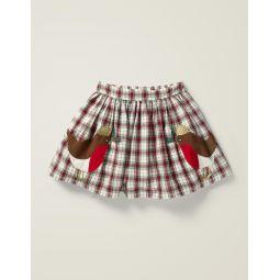 Festive Check Skirt - Rockabilly Red Check/Robins