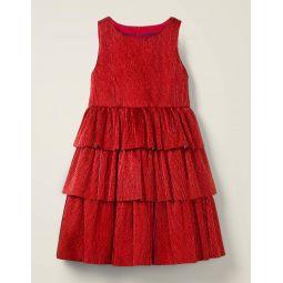 Sparkle Tiered Dress - Rockabilly Red Sparkle