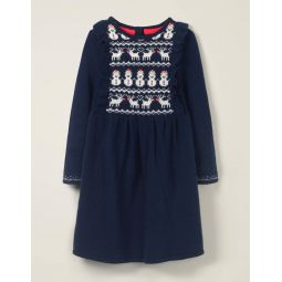 Cosy Fair Isle Knitted Dress - College Blue