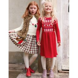 Cosy Fair Isle Knitted Dress - Rockabilly Red
