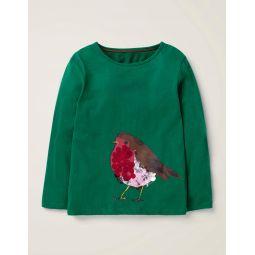 Sparkly Festive Animal T-Shirt - Linden Green Robin