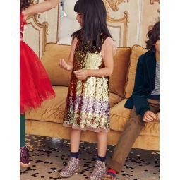 Sequin Flutter Sleeve Dress - Gold Ombre Sequins