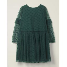 Flocked Spot Party Dress - Emerald Night Green