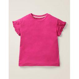 Frill Wrap Sleeve Top - Pink Yarrow