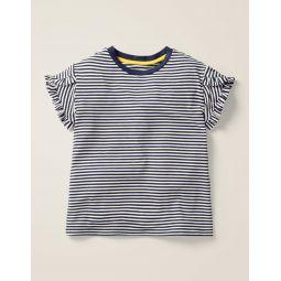 Frill Wrap Sleeve Top - Navy/Ecru Stripe