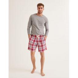 Cotton Poplin Pyjama Shorts - Washed Crimson/Heather Check